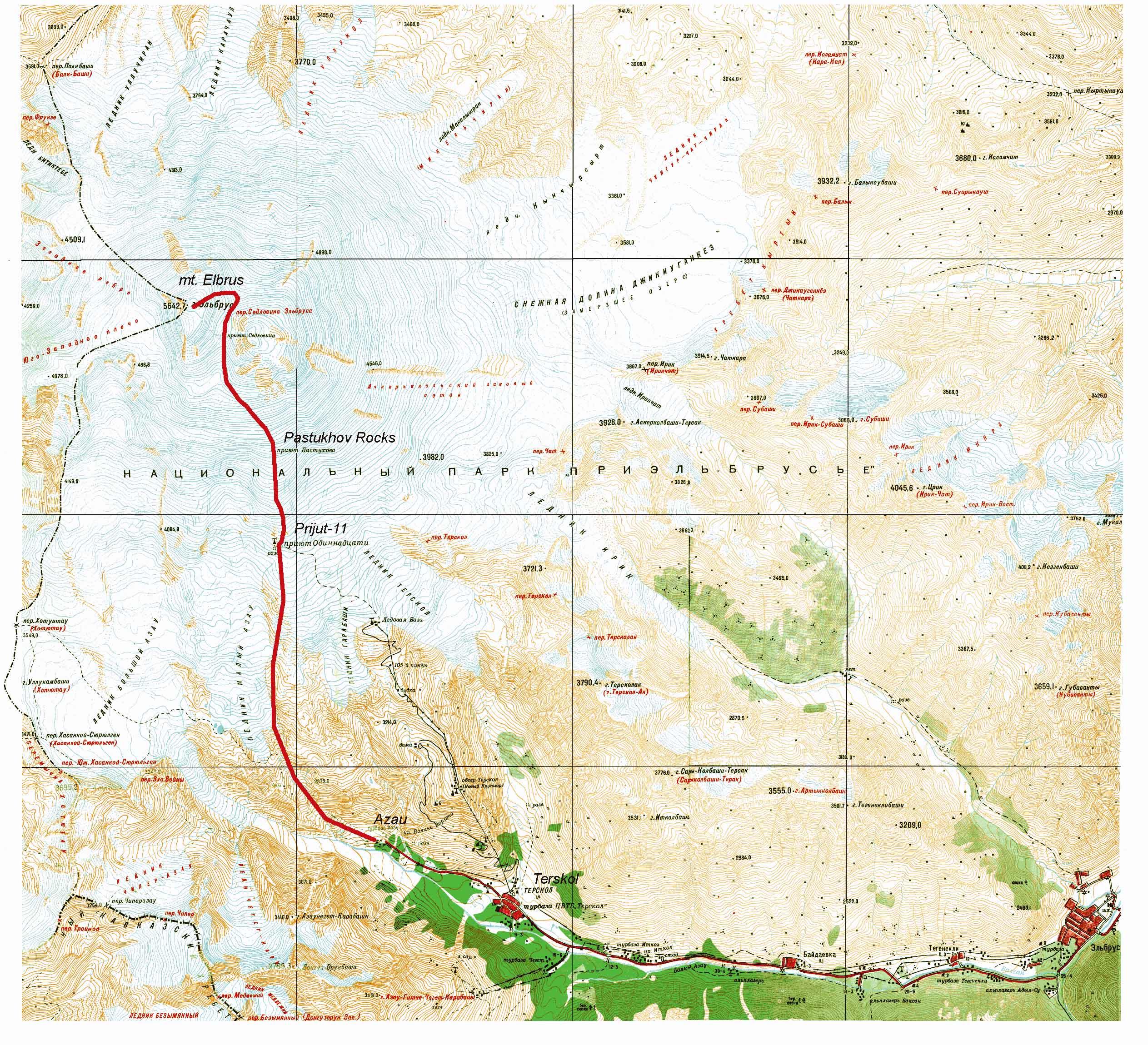 Карта Хребтовка Алтая